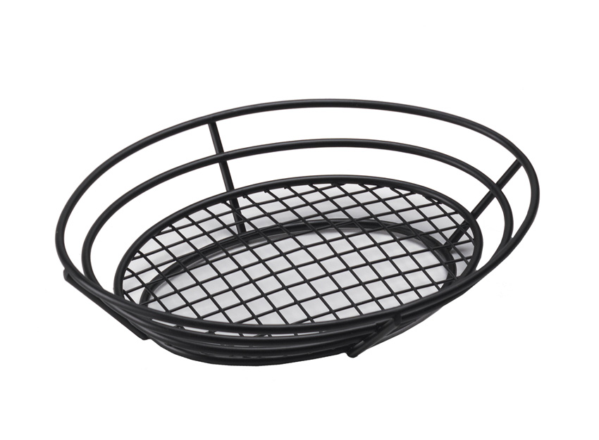 "11"" x 8"" Oval Basket w/ Raised Grid Base, 2.25"" Tall"