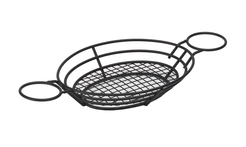 "11"" x 8"" Oval Basket w/ Raised Grid Base and 2 Holders, 2"" Tall (Fits 4-84100, 4-84111, 4-84105, RM-203, S-620, F-625, ER-025)"