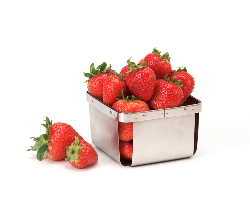 "4"" Square Berry Basket, 2.5"" Tall"