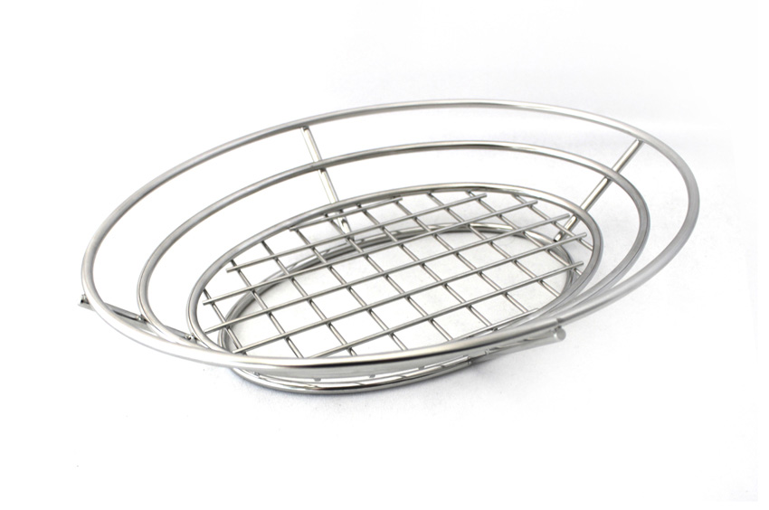 "11"" x 8"" Oval Basket w/ Wide Raised Grid Base, 2.25"" Tall"