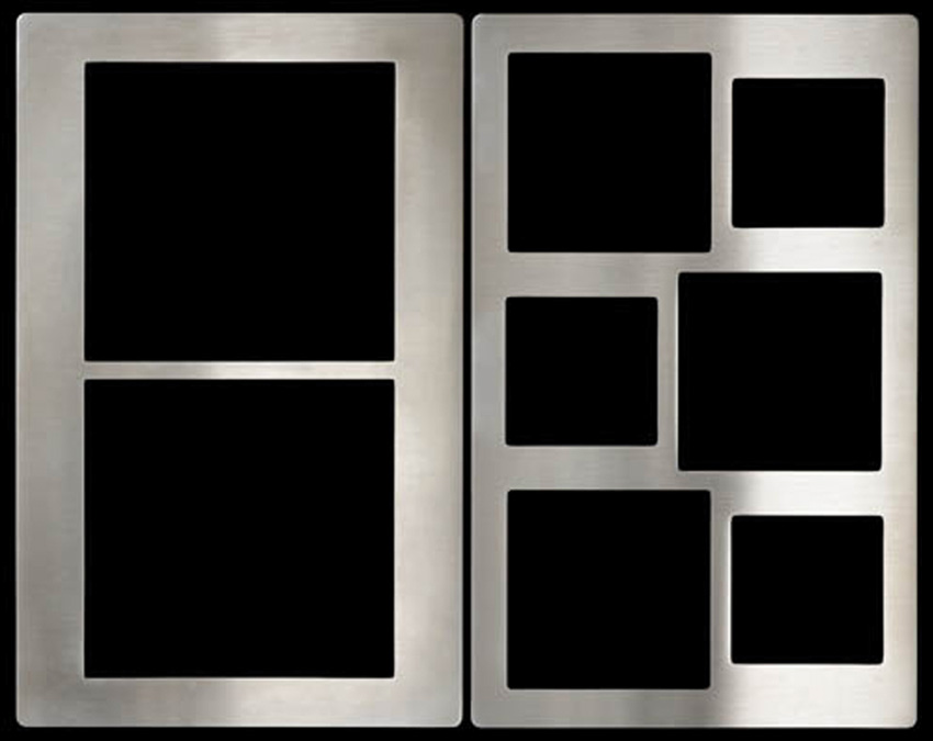 "Tile, 20-13/16"" x 12-3/4"", with two rectangular cut-outs, stainless steel"