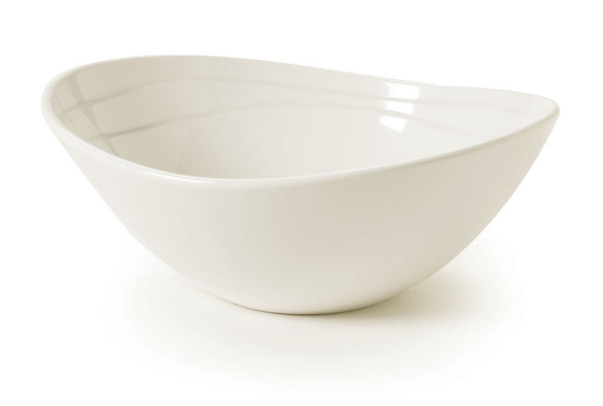 "20 oz. (21.5 oz. rim-full), 7"" x 6.5"" Melamine Textured Rim Oval Bowl, 2.5"" deep"
