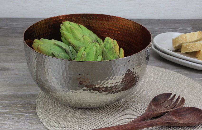 "10"" Dia. Copper Plated Aluminum Bowl with Hammered Finish"