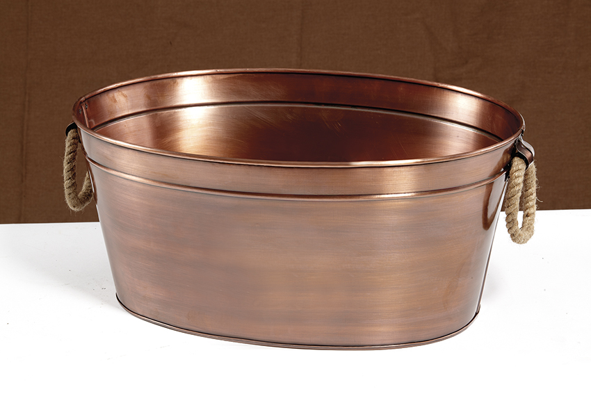 "3 gal., 15.5"" x 11.5"" Oval Antique Copper Beverage Tub with Rope Handles, 6.75"" tall"