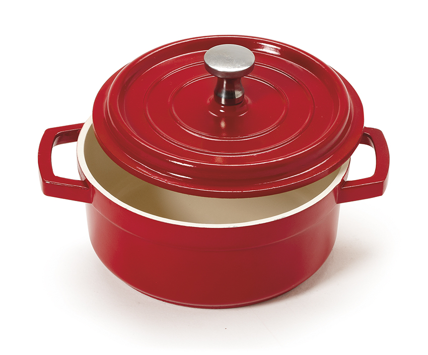 "8 oz. (10 oz. rim-full), 4.25"" Mini Induction Ready Round Bistro Pot w/ Lid (5.5"" w/ Handles), 1.75"" deep"