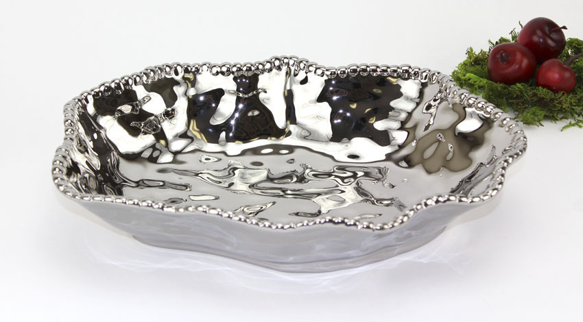 "1.5 qt. (2 qt. rim-full), 12"" x 9"" Oval Porcelain Bowl with Titanium Coating and Beaded Rim, 2.25"" deep"