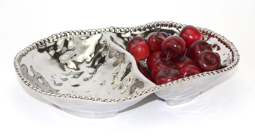 "13"" x 9"" 2-Compartment Oval Porcelain Plate with Titanium Coating and Beaded Rim"