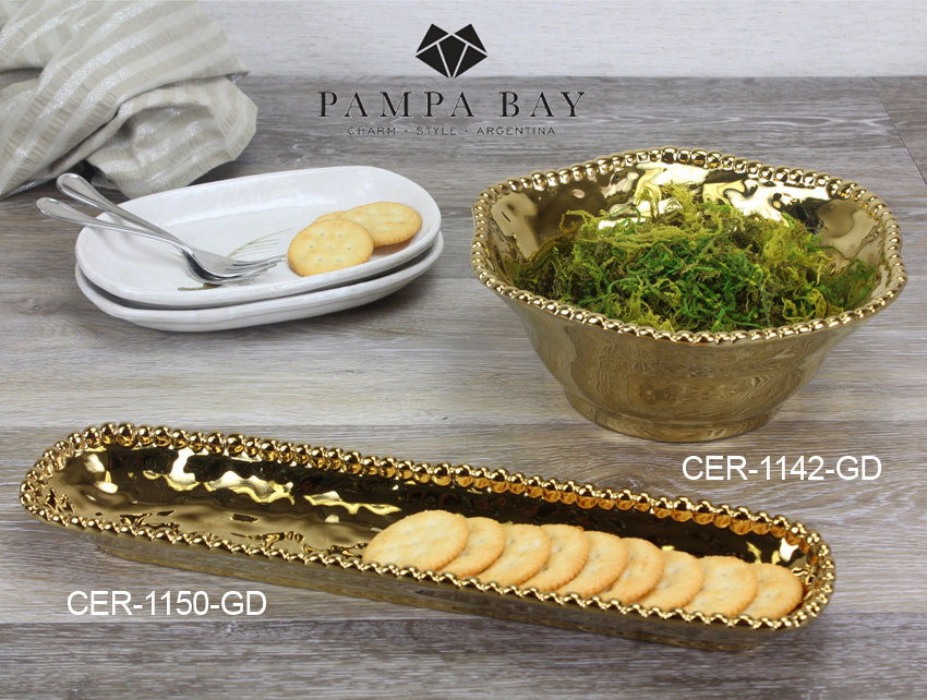 "14"" x 3"" Oblong Porcelain Cracker Tray with Titanium Coating and Beaded Rim"