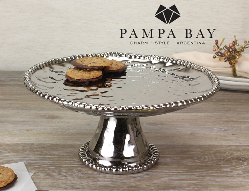 "11"" Dia. Porcelain Cake Stand with Titanium Coating and Beaded Rim"
