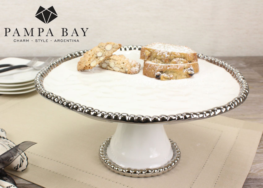 """11"""" Dia. Porcelain Cake Stand with Titanium Coating and Beaded Rim , 5"""" tall"""