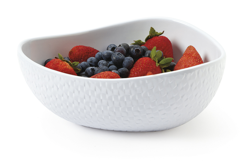 "2 qt. (2 qt. Rim-Full), 8.75"" x 8.25"" x 7.5"" Freestyle Triangle Bowl, 3.25"" deep"