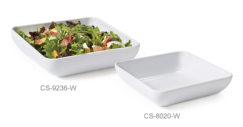 "2.3 qt. (2.3 qt. Rim-Full), 9"" Square Bowl w/ Rounded Corners, 2"" deep"