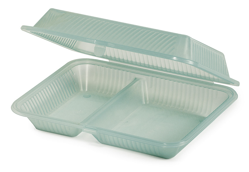 """10"""" x 8"""" 2-Compartment Food Container, 3"""" Deep"""