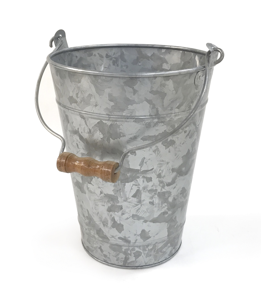 "8"" Dia. Galvanized Bucket (8.5"" w/ Handle), 10"" tall"