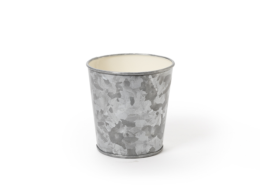 "3.75"" Dia. Round Galvanized French Fry Cup with Ivory Powder Coated Interior, 3.75"" tall"