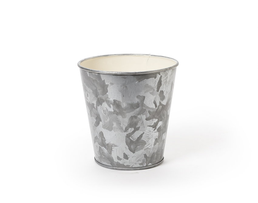 "4"" Dia. Round Galvanized French Fry Cup w/ Ivory Powder Coated Interior, 4"" tall"