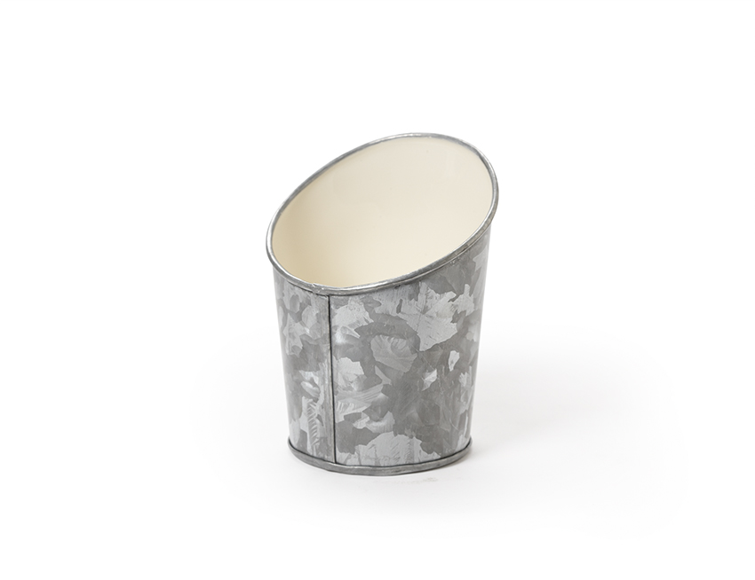 "5"" Dia. Angled Galvanized French Fry Cup w/ Ivory Powder Coated Interior, 4"" tall front, 5.6"" tall back"