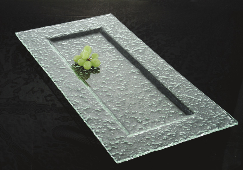 "23"" x 12"" Jade Glass Rectangular Platter, 2.5"" deep"