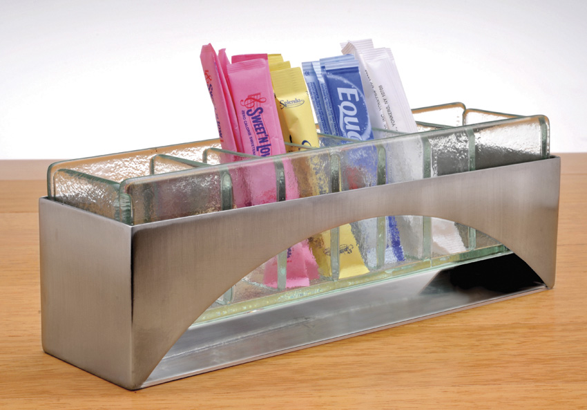 "9.5"" x 2.625 Stainless Steel and Glass Sugar Packet Display w Brushed Finish, 2.5"" tall"