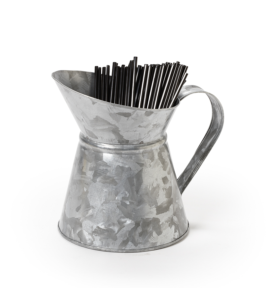 "4.75"" Dia. Galvanized Pitcher (6.75"" with Handle), 6"" tall"