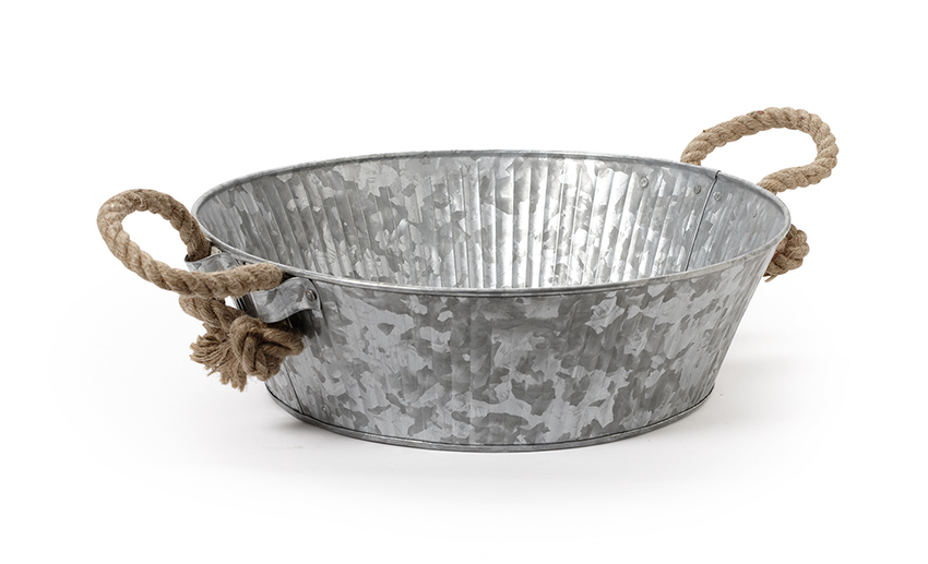 "14"" Dia. Round Galvanized Tray with Rope Handles, 4.2"" deep"