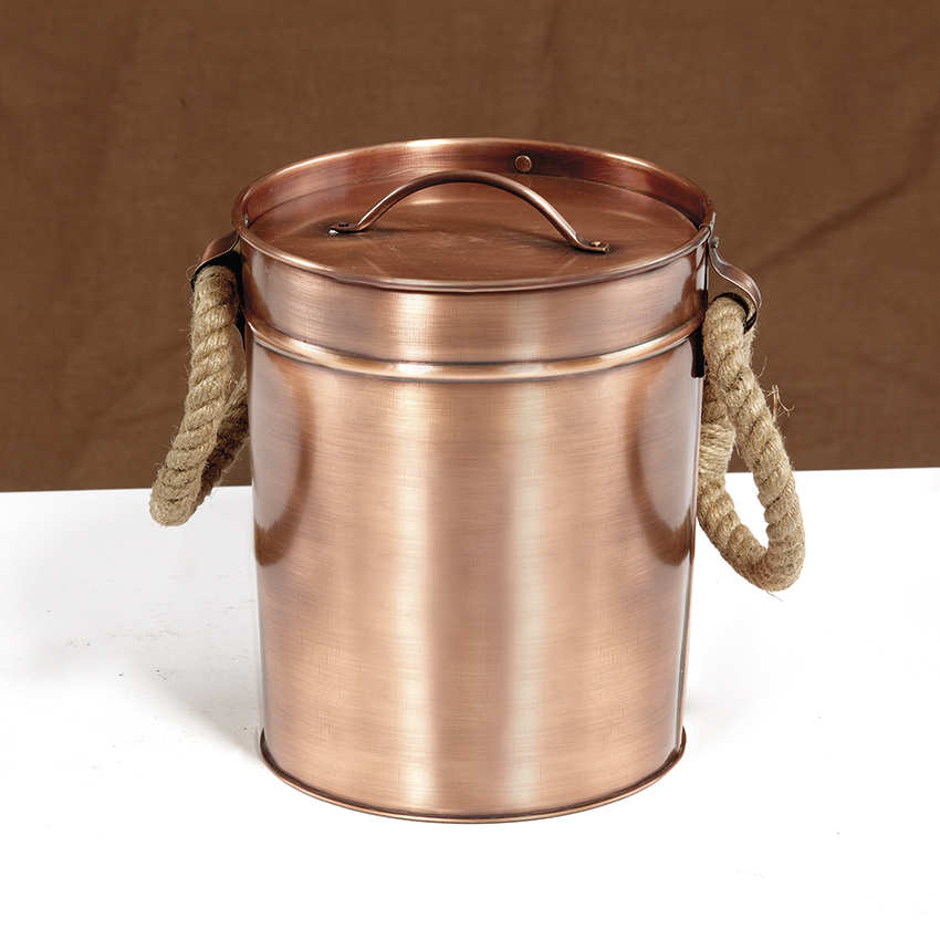 "7.5"" Dia. Round Antique Copper Ice Bucket with Lid and Rope Handles, 10"" tall"