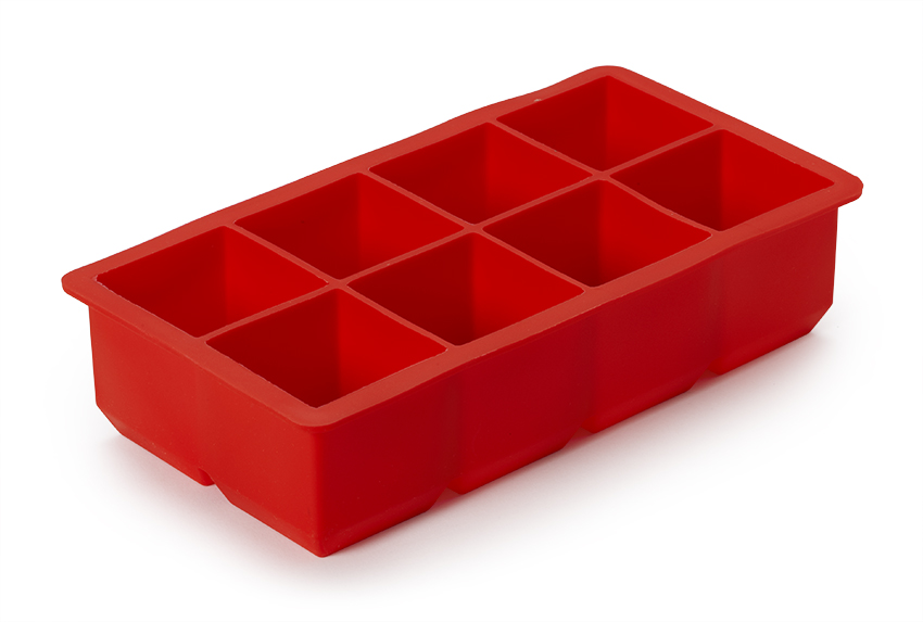 "8.25"" x 4.3"" Silicone Ice Cube Tray w/ 8-Square Compartments, 1.9"" tall"