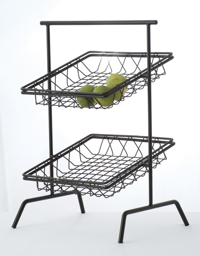 "12"" Black Square 2-Tier Basket Stand (fits WB-103B, WB-105B)"