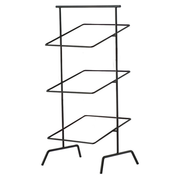 "12"" Black Square 3-Tier Basket Stand, 31"" tall (fits WB-103B, WB-105B)"