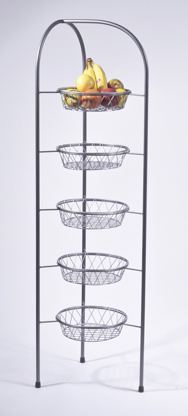 "16"" x15.5 Gray Round 5-Tier Butler Stand, 60"" tall (fits IR-905 basket)"