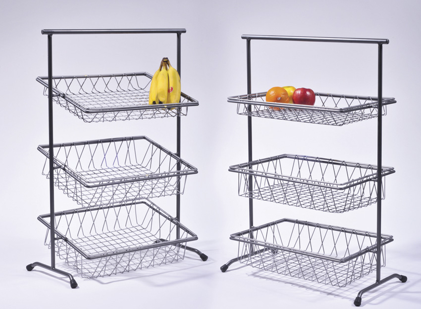 "22"" x 11"" Gray Rectangular 3-Tier Tilted Pane Stand, 31.25"" tall (fits IR-903, IR-904, BAMTRY-01, BAMTRY-02)"