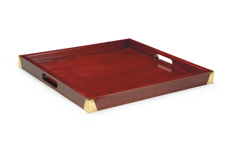 "21"" Luxury Square Hardwood Tray w/Brass Reinforcement, 2"" Deep"