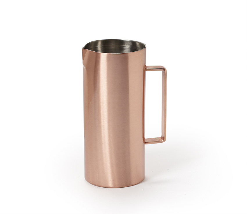 "1.6 qt. (2.1 qt. rim-full), 4.8"" Dia. Double Wall Copper Pitcher with Brushed Finish (6.3"" with Handle), 10"" tall"