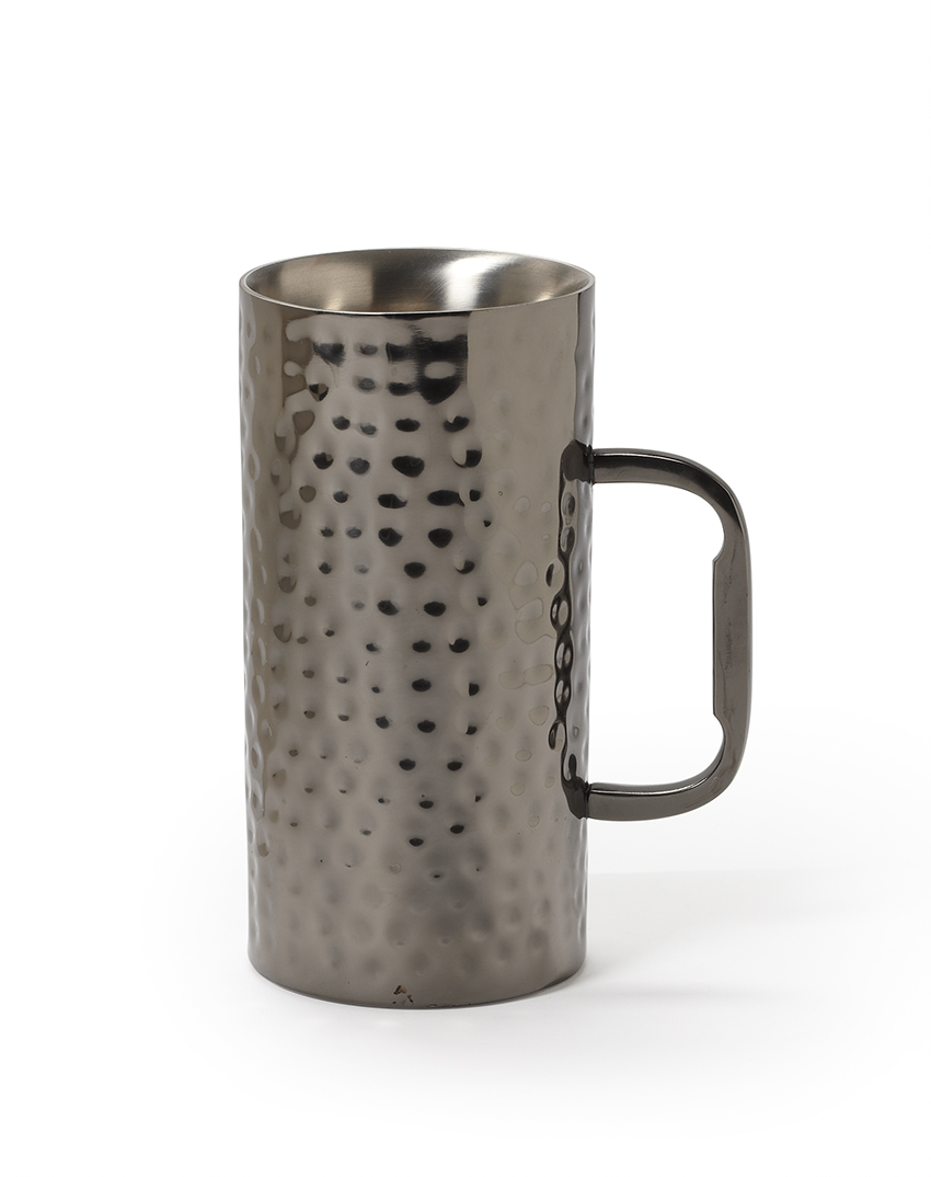 "16 oz. (20 oz. rim-full), 3.25"" Double Wall Stainless Steel Mug with Hammered Copper Finish (4.75"" with Handle), 6.5"" tall"
