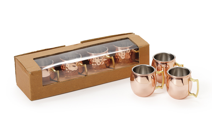 "2 oz. (2.5 oz. rim-full), 1.75"" Dia. Mini Copper Moscow Mule Shot Mug (2.5"" with Handle), 2"" tall, set of 4"
