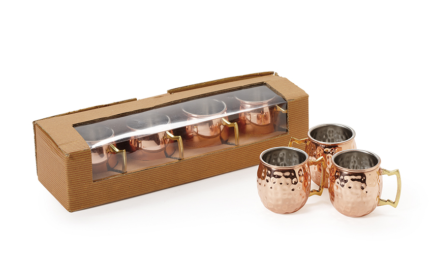 "2 oz. (2.5 oz. rim-full), 1.75"" Dia. Mini Copper Moscow Mule Shot Mug with Hammered Finish (2.5"" with Handle), 2"" tall, set of 4"