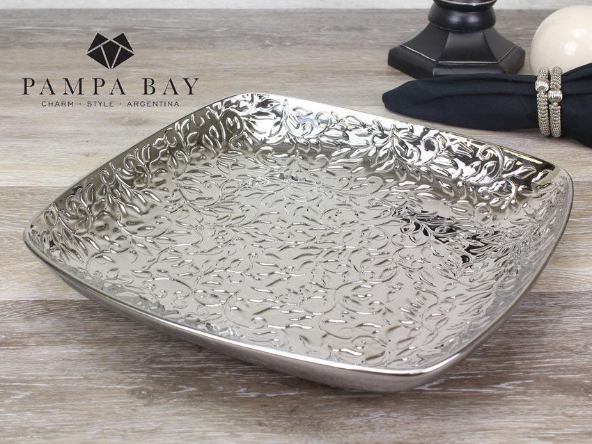 "12.75"" Square Porcelain Plate with Titanium Coating in an Embossed Texture"