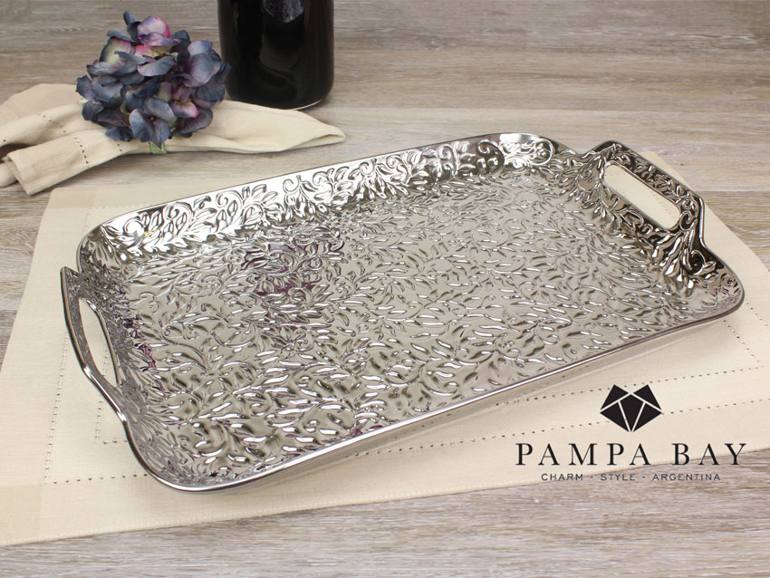 "16.75"" x 10.25"" Rectangular Porcelain Tray with Handles Titanium Coating in an Embossed Texture"