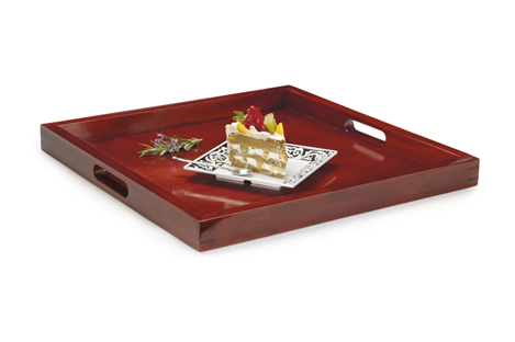 "21"" Square Hardwood Tray, 2"" Deep"