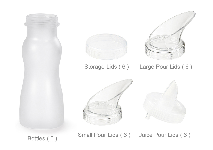 30 pc. Set � 6 (Six) 16 oz. Salad Dressing Bottles & 24 Lids, Frosted Clear