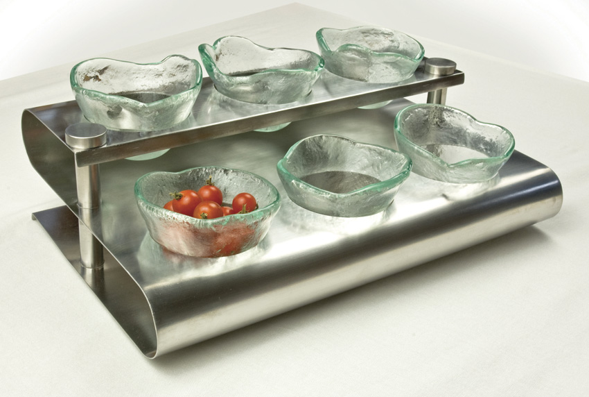 "15.25"" x 10"" Stainless Steel ""S"" Shaped Condiment Rack, 4.5"" tall (fits GLRDBWL-04)"