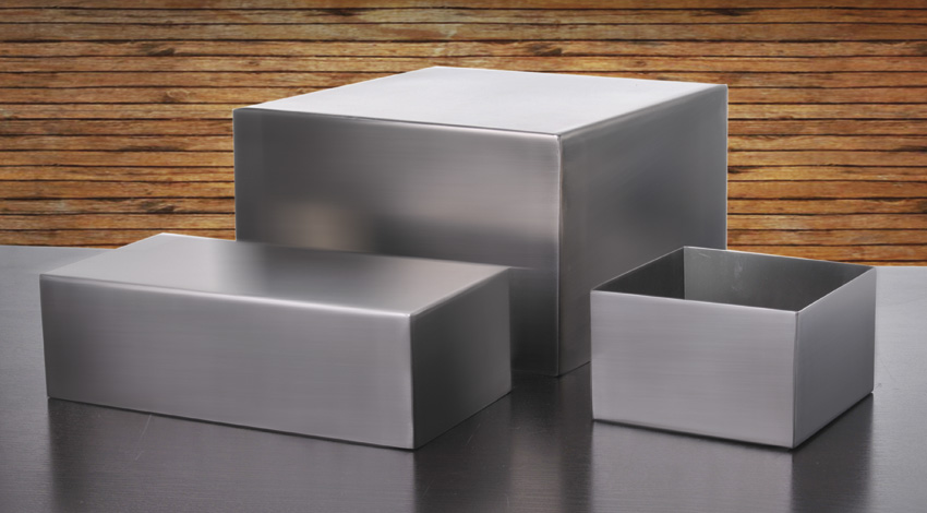 """10"""" x 5"""" Stainless Steel Square Pan w/ Brushed Finish, 3"""" tall"""