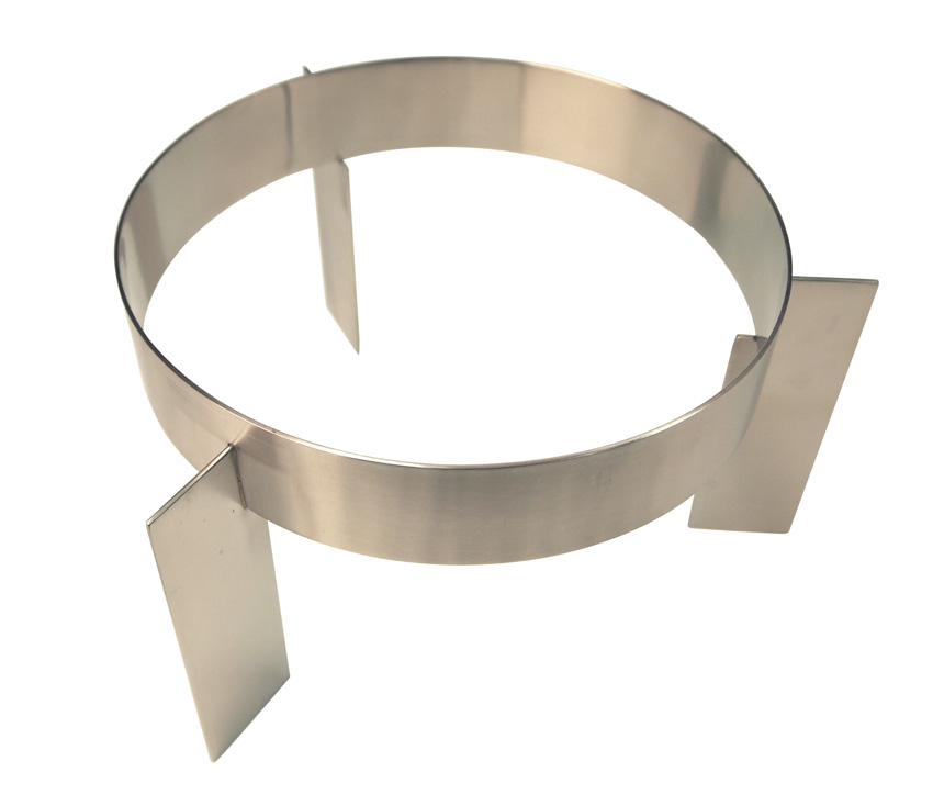 """Stainless steel 18/8 round riser with banded legs , Satin finish, Ring ID diam 10 """"  5"""" h"""