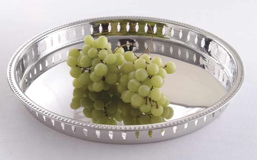 "15"" Stainless Steel Round Tray, 1.5"" tall"