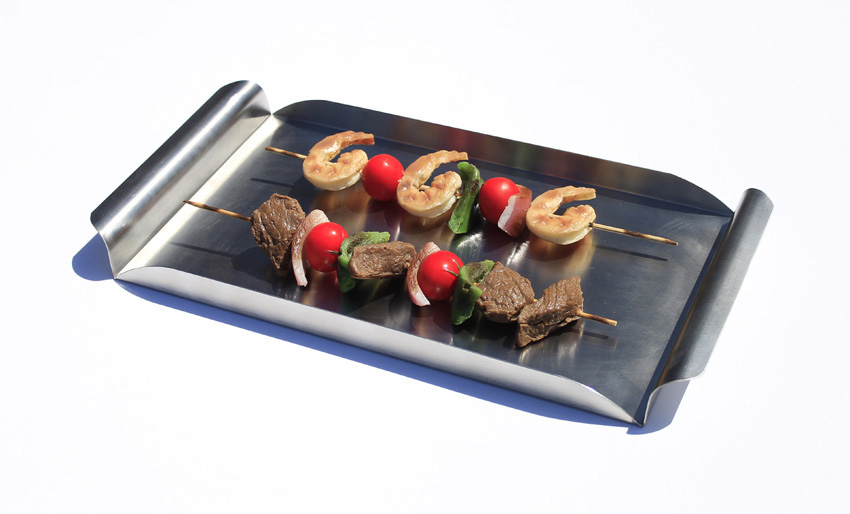 "16.25"" x 8.25"" Stainless Steel Rectangular Tray w/ Brushed Finish and Curved Handles"