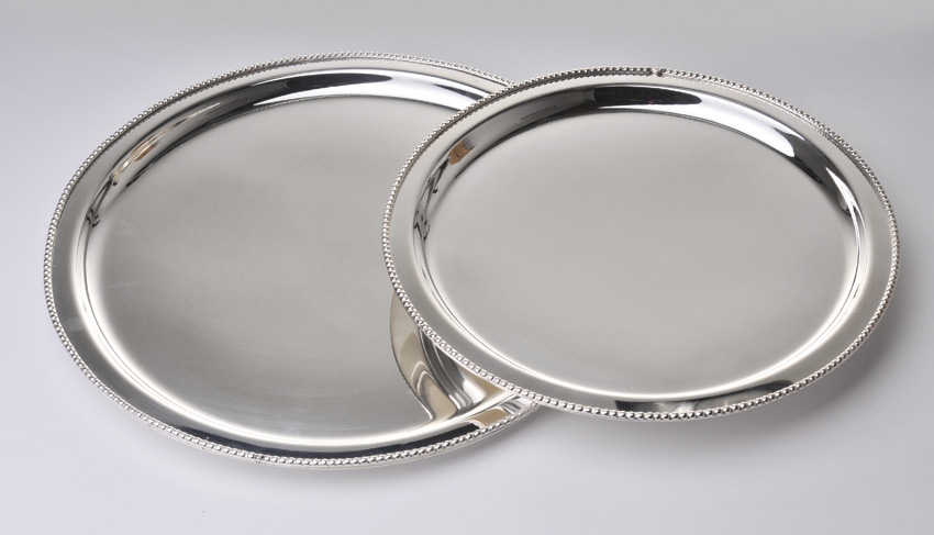 "12"" Stainless Steel Round Tray w/ Mirror Finish."