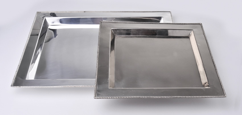 "14"" Stainless Steel Square Tray w/ Mirror Finish."
