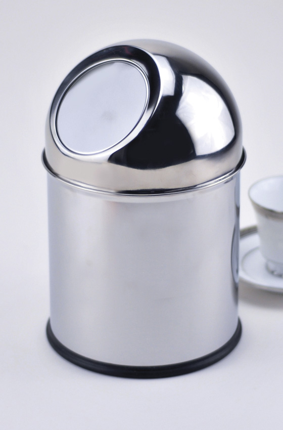 "6.75"" Stainless Steel Table Top Trash Can w/ Mirror Finish, Dome Top, 11"" tall"