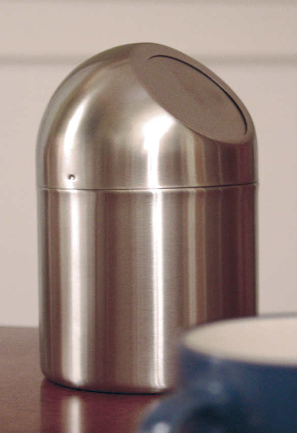 "4.75"" Stainless Steel Table Top Trash Can, 4.75"" Flap Lid, 7.5"" tall"