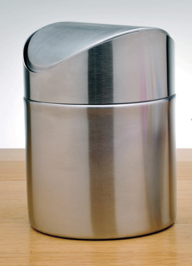 "4.75"" Stainless Steel Mini Trash Can, 4.75"" Flip Lid, 6"" tall"